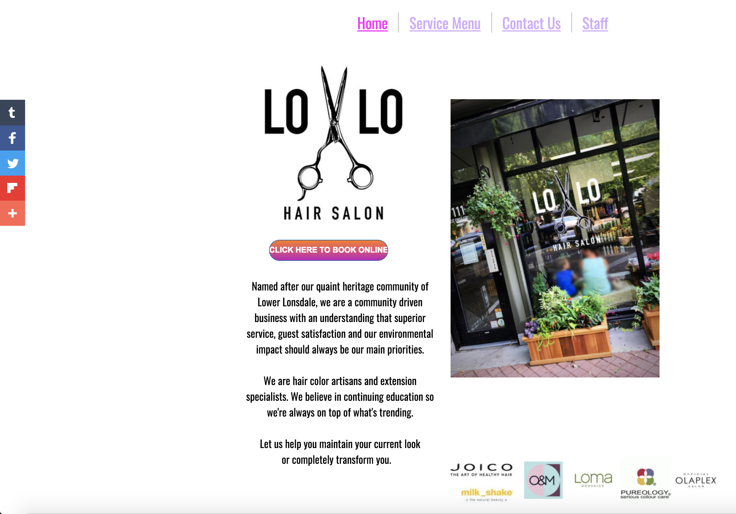 LoLo Hair Salon old home page