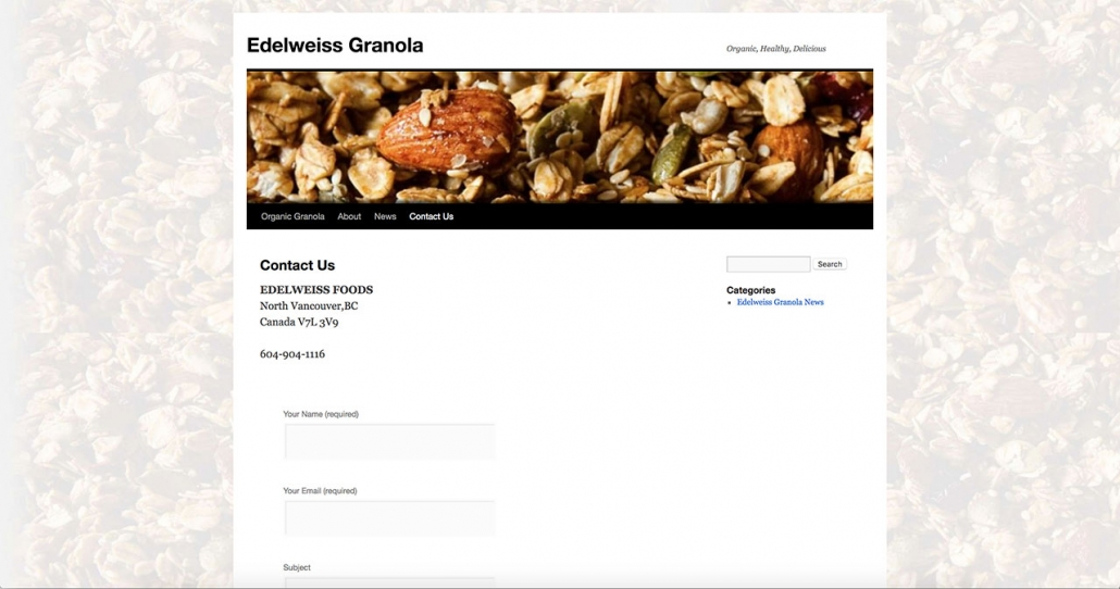 Edelweiss Granola Old Interface